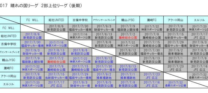 2017 岡山県3種リーグ晴れの国リーグ  2部上位リーグ 結果