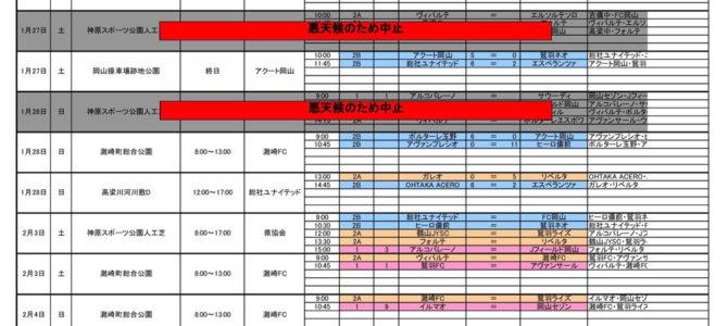 2018晴れの国リーグ 全体日程表