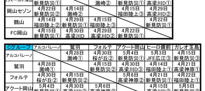 2018 第33回 日本クラブユースサッカー選手権(U-15)大会 岡山県予選 グループ日程一覧