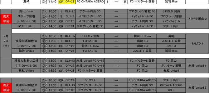 2018 高円宮杯 岡山チャレンジリーグ U-13 試合日程