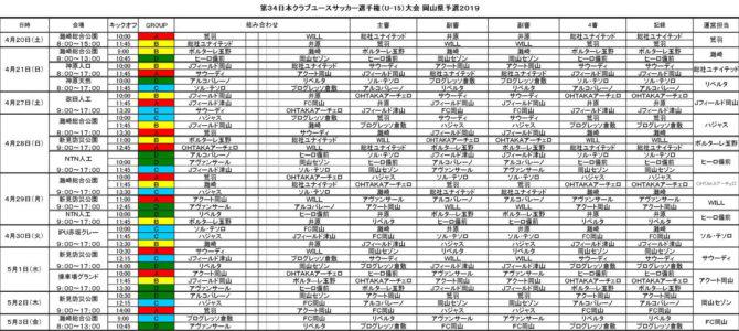 2019 第34回 日本クラブユースサッカー選手権(U-15)大会 岡山県予選 試合日程