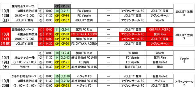 2019 岡山チャレンジリーグ試合日程 10月 試合日程 結果