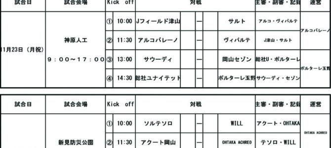 2020岡山県クラブユースU-15 新人戦組み合わせ