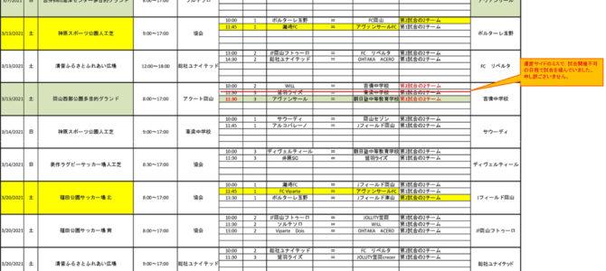 高円宮杯U-15サッカーリーグ 第12回晴れの国リーグ2021 日程表